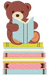 Bear Reading Books embroidery design