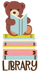 Bear Library embroidery design