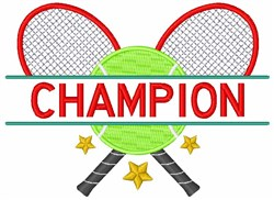 Tennis Champion embroidery design