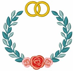 Wedding Rings Wreath embroidery design