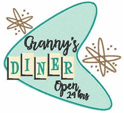 Grannys Diner Open embroidery design