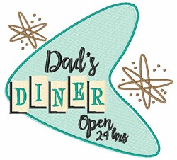 Dads Diner Open embroidery design