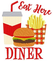 Eat Here embroidery design