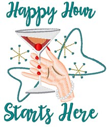 Happy Hour Starts Here embroidery design