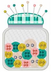 Pincushion Button Jar embroidery design