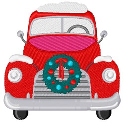 Holiday Wreath Truck embroidery design