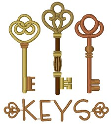 Vintage Keys embroidery design