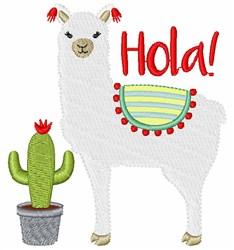 Hola Llama embroidery design