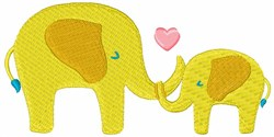 Mother & Baby Elephant embroidery design