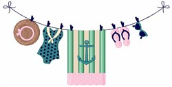 Beach Clothesline embroidery design
