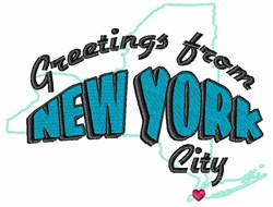 Greetings From New York embroidery design