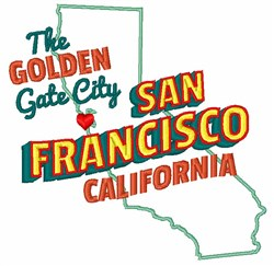 Golden Gate City embroidery design