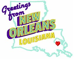 New Orleans Greetings embroidery design