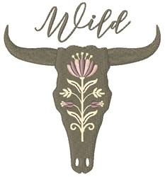 Wild Cow Skull embroidery design