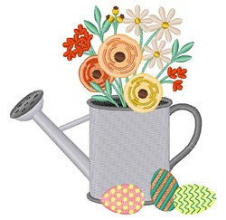 Floral Watering Can embroidery design