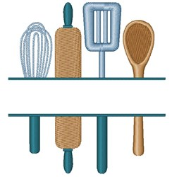 Utensils Name Drop embroidery design