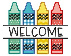 Welcome Crayons embroidery design
