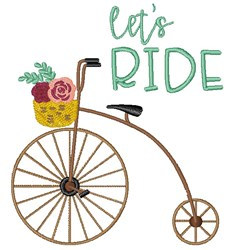 Lets Ride Bicycle embroidery design