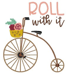 Roll With It Bicycle embroidery design