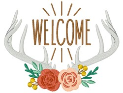 Welcome Antlers embroidery design