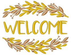 Golden Branches Frame Welcome embroidery design