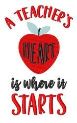 Teachers Heart embroidery design