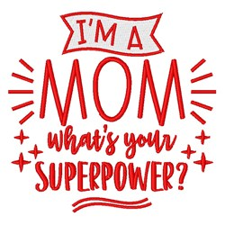 Mom Superpower embroidery design