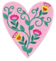 Folk Art Flower Heart embroidery design