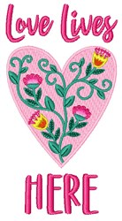 Love Lives Here embroidery design
