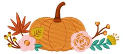 Fall Floral Pumpkin embroidery design