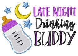 Baby Late Night Drinking Buddy Milk Bottle Moon Stars embroidery design