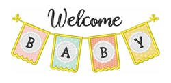 Welcome Baby Flag Banner embroidery design