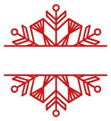 Redwork Snowflake Name Split embroidery design