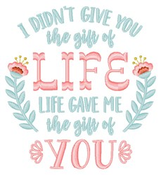 Gift Of You Parenthood embroidery design