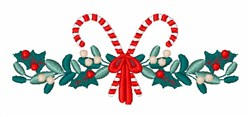 Christmas Holiday Candy Cane Holly Foliage Border embroidery design