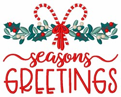 Seasons Greetings Holly Candy Cane Border embroidery design