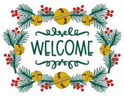 Christmas Holly Fir Bells Welcome Frame embroidery design