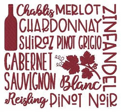 Types of Wine embroidery design