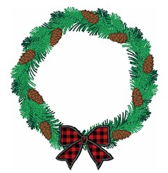 Christmas Holiday Pine Cone Wreath embroidery design