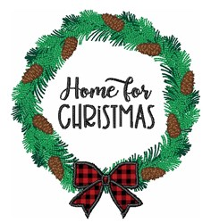 Home For Christmas Holiday Pine Cone Wreath embroidery design