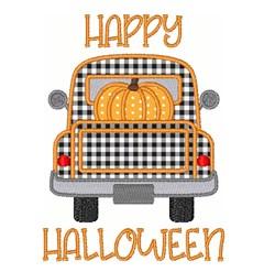 Fall Pumpkin Truck Happy Halloween embroidery design