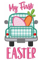 Babys First Easter Egg Carrot Truck embroidery design