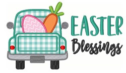 Easter Blessings Egg Carrot Truck embroidery design