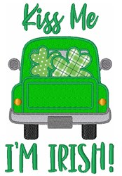 St. Patricks Day Kiss Me Im Irish Shamrock Truck embroidery design