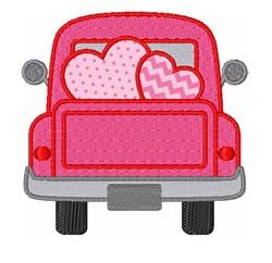 Valentine Hearts Truck Applique embroidery design