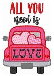 All You Need Is Love Valentine Hearts Truck embroidery design