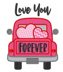 Valentine Hearts Truck Love Forever embroidery design