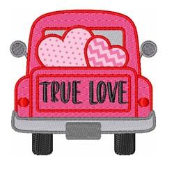 Valentine Hearts Truck True Love embroidery design