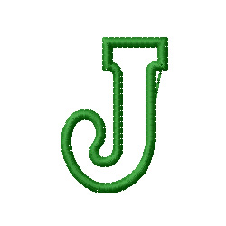 Kids Block Letter J Embroidery Design