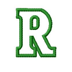 Kids Block Letter R Embroidery Design